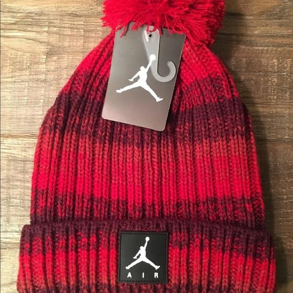 d19b43ead61 Nike Air Jordan  Red Maroon Pom Jumpman Beanie. NWT